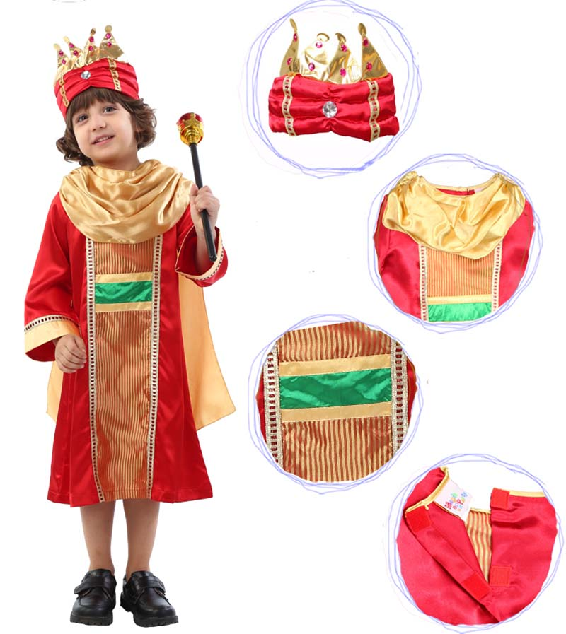 Child`s Royal King Costumes Red Halloween Carnival Party Noble Prince Leader of Kingdom Cosplay Clothing for Kids Boys 90 120cm