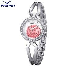 Orologi donna prema cuero rosa patrón deporte de señora relojes de pulsera de acero inoxidable venda de reloj de moda joker estilo bayan saat
