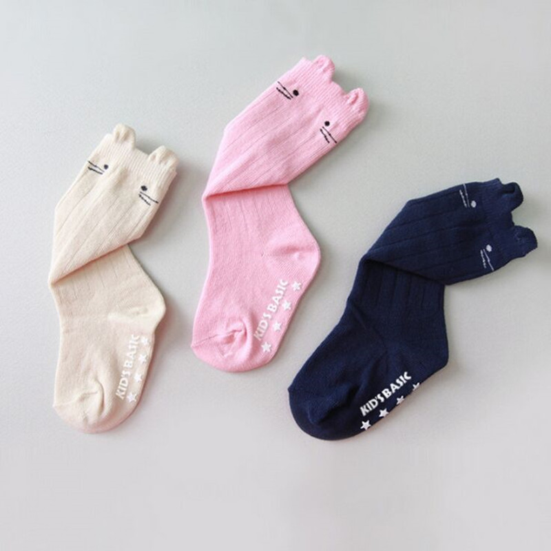 0 3T New born anti slip knee high baby girls socks boys