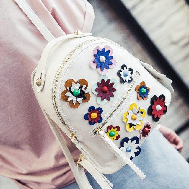 2017 Мода Весна Женщины Рюкзаки Малый Кожа Pu Женщины Печать Цветок Рюкзак Известный Бренд Дизайн Мини Путешествия Школьные Сумки