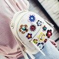 2017 Moda Primavera Mulheres Mochilas Mulheres Pequenas de Couro Pu Impressão Flor Mochila Famosa Marca de Design Mini Viagem Escola Bags