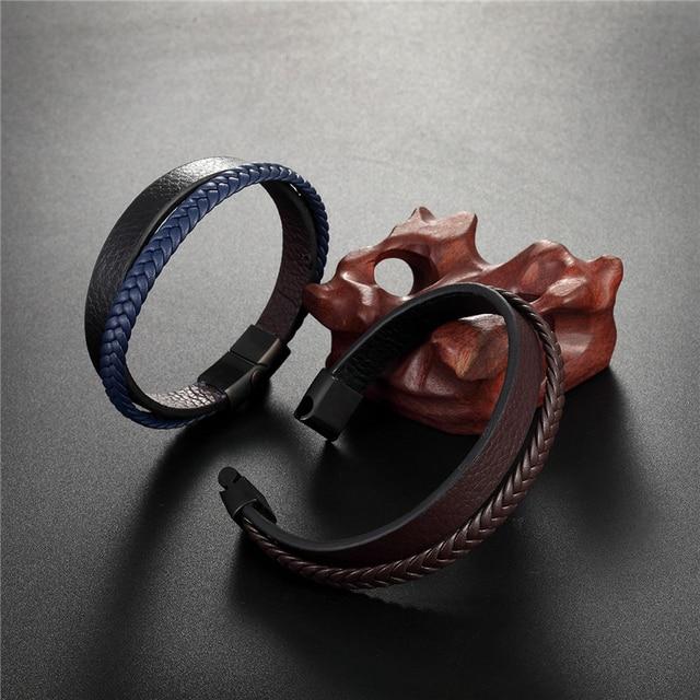 Купить браслет из натуральной кожи высокого качества мужской модный
