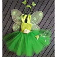 Tinkerbell Meisje Magic Fairy Verjaardagsfeestje Jurk Kind Prinses Pixie Cosplay Tutu Jurken Met Wing Halloween Custom Voor Gilrs
