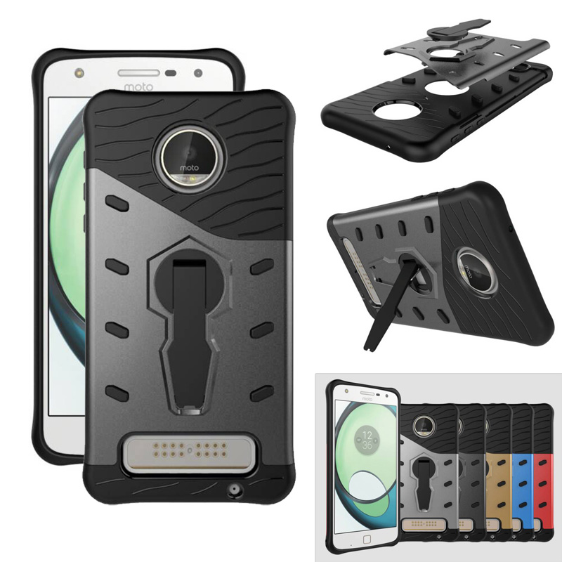 heavy shockproof anti-shock 360 Degree Kickstand TPU+PC Hybrid Case for Motorola Moto Z Play Droid (2016)