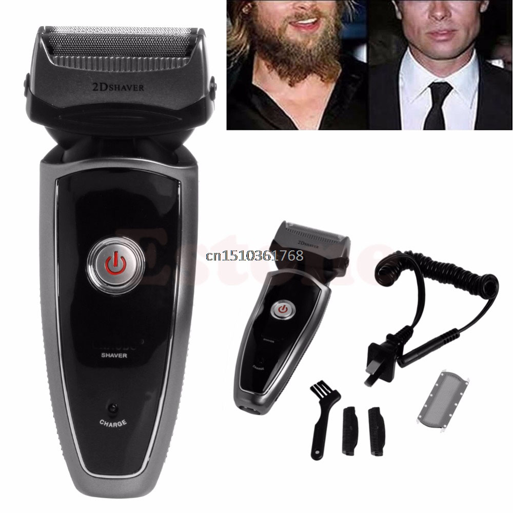 Men's Rechargeable Cordless Electric Razor Shaver Groomer Double Edge Trimmer US #Y05# #C05# philips brl130 satinshave advanced wet and dry electric shaver