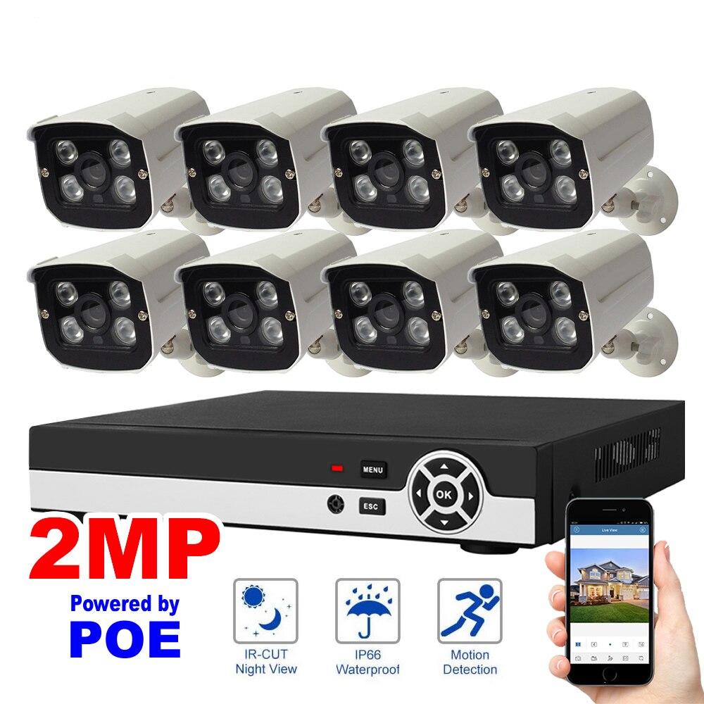 8CH 1080 p POE NVR Kit Système de Sécurité Réseau Enregistrement Vidéo H.264 P2P Cloud Détection De Mouvement HDMI D'IP de Surveillance À La Maison caméra Ensemble