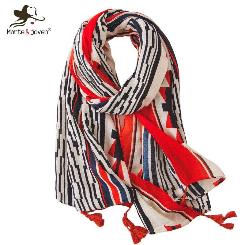 Marte&joven Elegant Geometric Print Scarf Ladies Fashion Striped Spring Autumn Shawl Wrap For Women Big Size Sunscreen Pashmina Ture 100% Guarantee