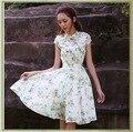 De alta gama Retro Vestido Cheongsam Simple Lindo Pequeño Estampado de Flores de Cuello Mao Gasa Swing Grande Vestido de Fiesta Elegante Delgado Bodycon