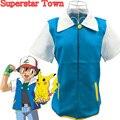 Аниме Покемон Ash Ketchum Тренер Костюма Куртки Пальто Взрослых Косплей Синий Пиджак Суперзвезда Города