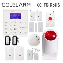 QOLELARM 433 Touch Screen Home Alarm System Wireless GSM Smoke Detector Wireless Strobe Siren WIFI Alarm Systems Security Home