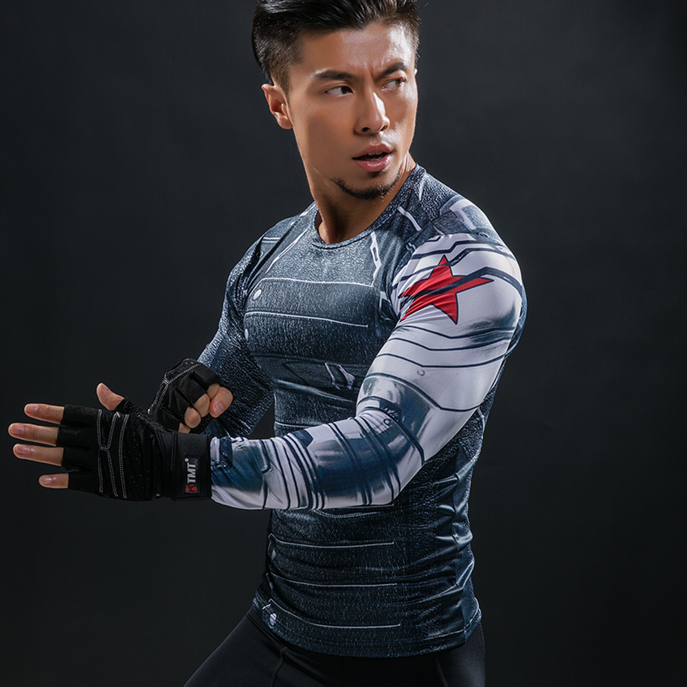 3D Winter Soldier Avengers 3 Compression Shirt Men Summer Long Sleeve Fitness Crossfit T Shirts Male Clothing Tight Tops