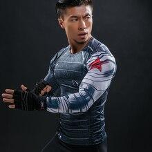 3D Зимний Солдат Мстители 3 Сжатия Рубашка Для мужчин лето с длинным рукавом Фитнес Crossfit футболки мужской Костюмы Tight Топы корректирующие