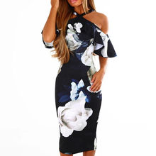 Women Sexy Bodycon Dress Floral Printed Off The Shoulder Ruffles Midi Dresses Summer Halter Lady Party Dress #L(China)