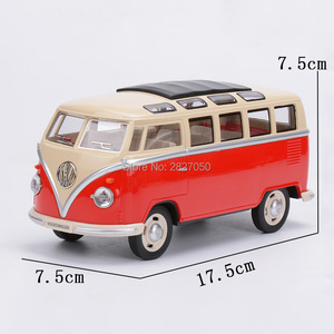 Image 2 - 1:24 Alloy Diecast VW Classical Minibus Pull Back Car toys Mini Van Bus with light and voice toy cars for children