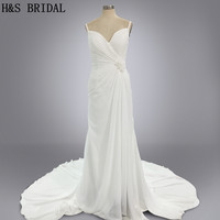 Real Model Custom Made Two Straps White Chiffon Cheap Wedding Dresses