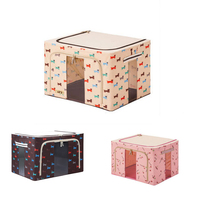 Durable Oxford Fabric Foldable Steel Shelf Lidded Storage Box Natural Canvas Organizer Container With Steel Frame