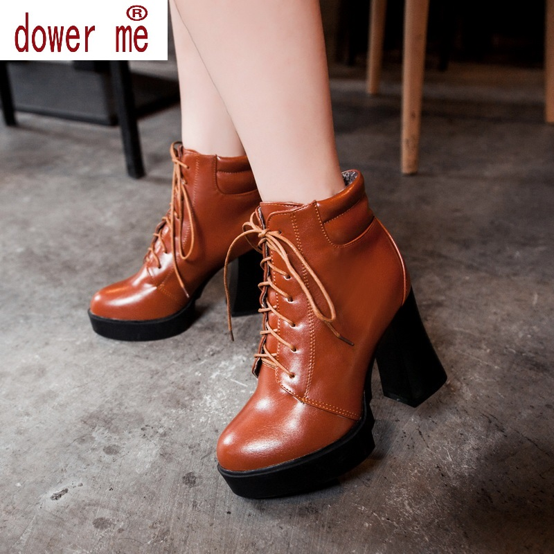 ФОТО Dower Me 3 Color Winter Lace-Up Sexy Women Boots Fashion Platform high square heels Black Buckle Ankle boots Plus Size 34-43