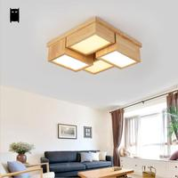 LED Wood Square Geometry Ceiling Light Fixture Japanese Nordic Plafon Lamp Lustre Luminaria Home Foyer Living Study Room Bedroom