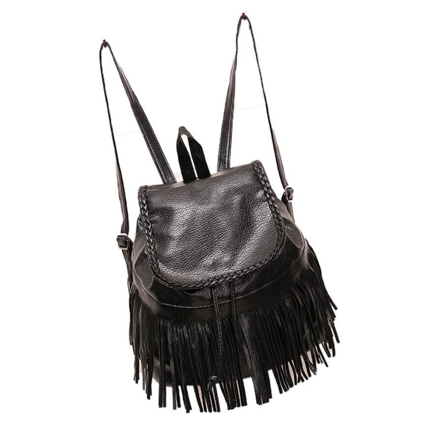 Classic Leather String Tassel Backpack Women Travel Shoulder Backpack School Backpacks Cell Phone Pockets Backpacks Rucksack#30
