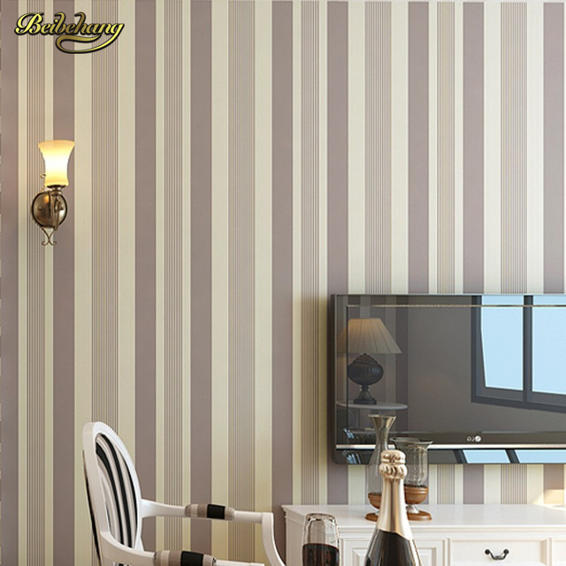 Beibehang Classic Striped Wallpaper Living Room Wall Paper Roll Home Decoration Light Yellow Green Black