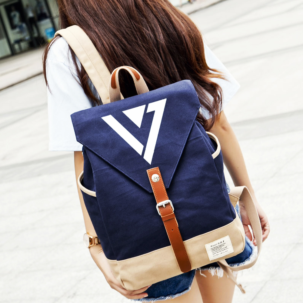 Wishot Seventeen 17 Backpack Canvas Bag Schoolbag Travel Shoulder Bag Rucksacks For Women Girls Men's Bags