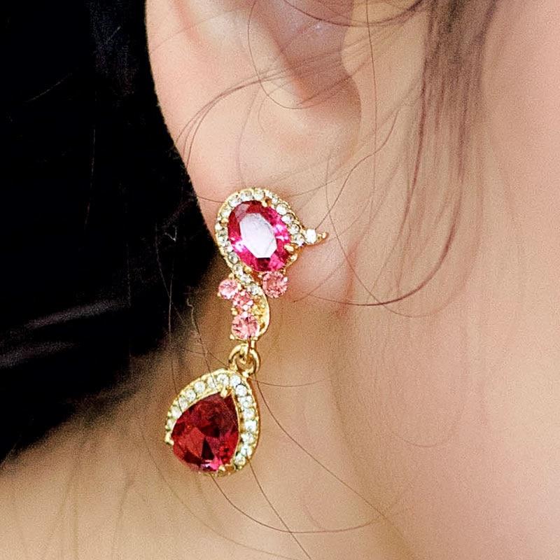 Boucles d'oreilles en cristal de mariage pour femmes longues boucles d'oreilles coréenne femme tempérament mode boucle d'oreille mariée mariage bijoux personnalisés rouge - 2