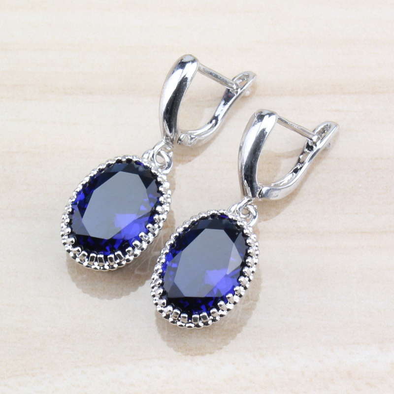 Vintage Jewellery Antique Silver /& Blue Teardrop Shaped Classic Earrings E125