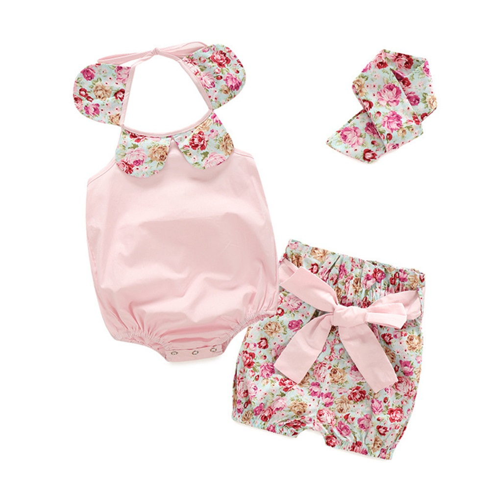 3Pcs/Set Summer Cute Baby Toddler Girl Striped Floral Printed Ruffle Neck Romper Cloth and Bowknot Shorts with Headband set
