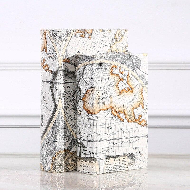 Boîte De rangement en bois rétro Style européen carte du monde sécurité livre coffre-fort argent boîte organisateur De bijoux Caixa De Armazenamento