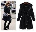European style 2016 Autumn New Women Drawstring Hooded Trench Female Fashion Plus Size Loose Casual Windbreaker Coat XL-4XL