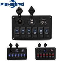 12V 24V 6 Gang Car Auto LED Rocker Switch Panel Circuit Digital Voltmeter 3.1A Dual USB Power Charger Cigarette Lighter Socket