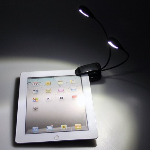 New Book Lights Mini Reading lights Clip on Dual 2 Arm 4 LED Book Reading Music Stand Li ...