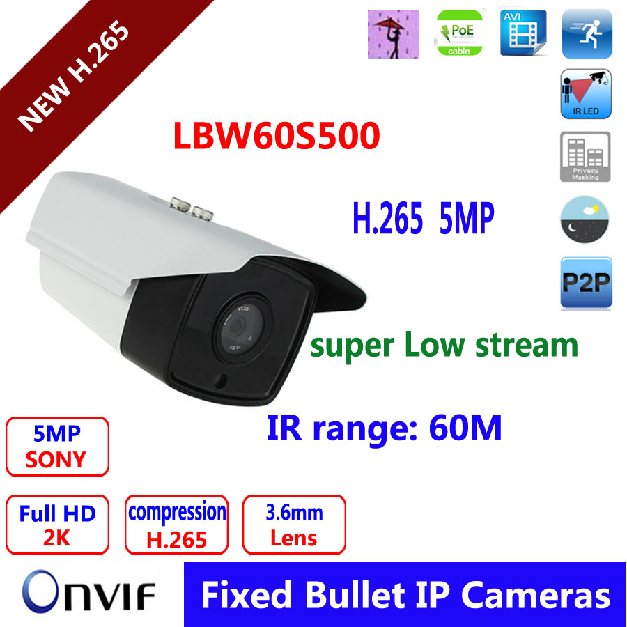 5MP IP Bullet Camera H.264/H.265 Compression 3.6mm Fixed HD Lens Support POE P2P ONVIF bullet camera tube camera headset holder with varied size in diameter