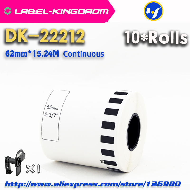 10 Refill Rolls Generic DK 22212 Label 62mm 15 24M Continuous Compatible for Brother Label Printer