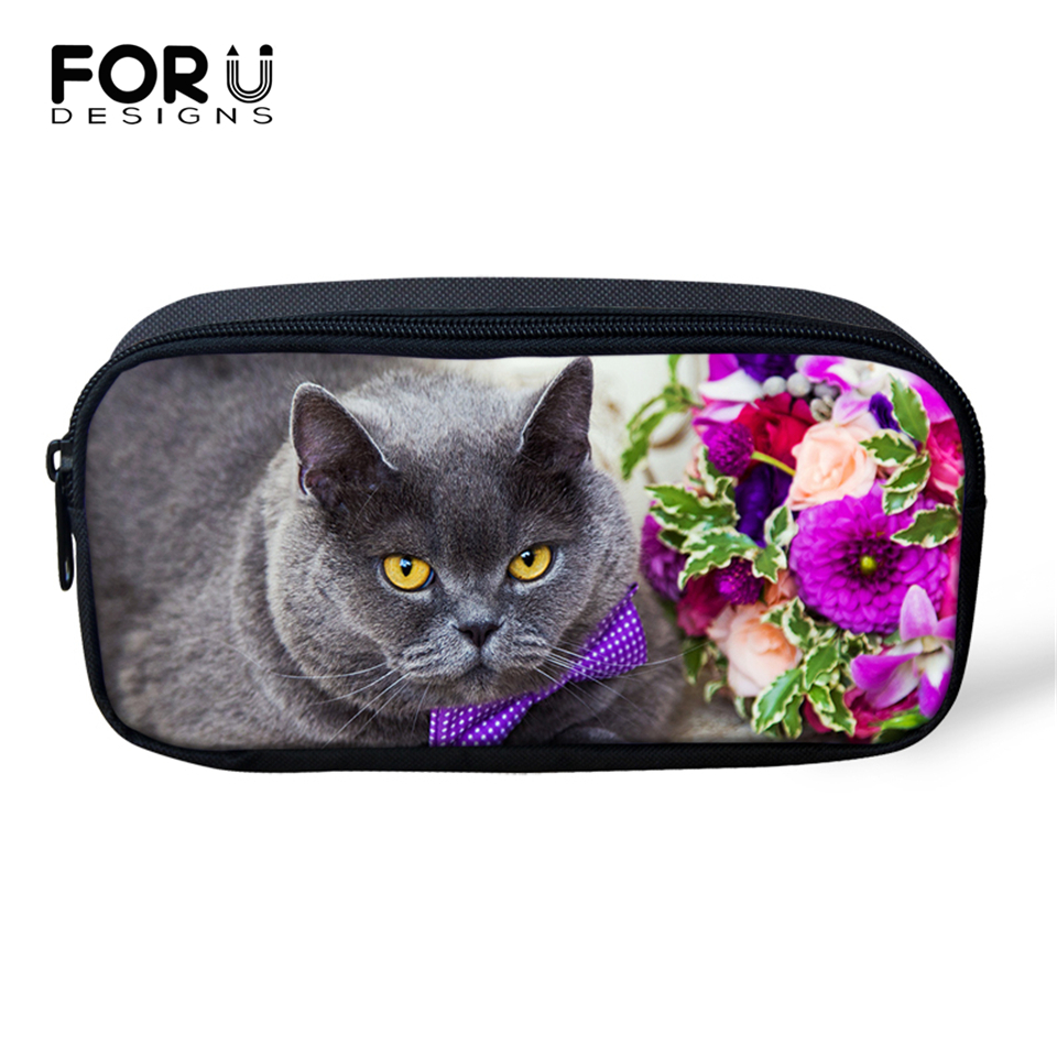 FORUDESIGNS Fat Cute Cats Prints Cosmetic Bags Cartoon Lady Make Up Travel Bags for Women Girls Pen Bags Children Pencil Bags in Cosmetic Bags Cases from Luggage Bags