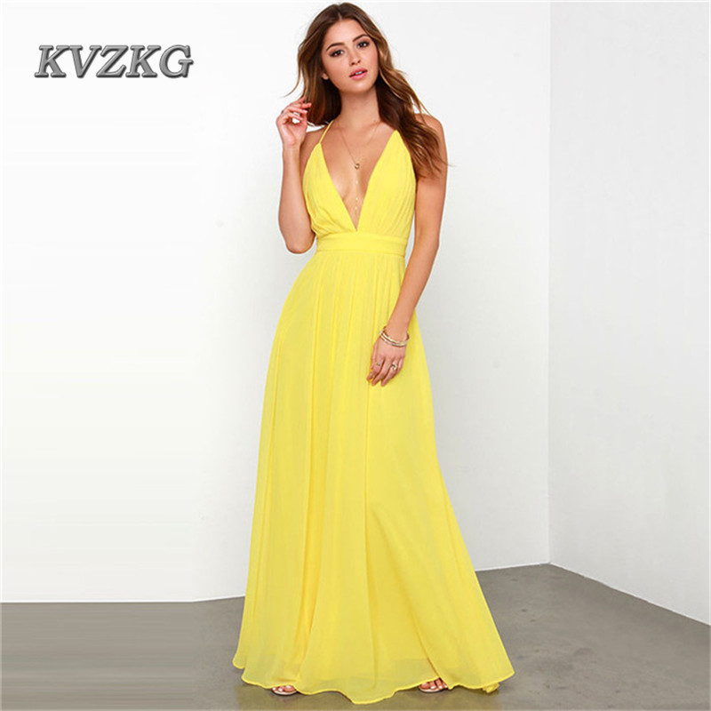 KVZKG 2017 Sexy Deep V Neck Spaghetti Strap Backless Summer Long Dresses Evening Party Beach Bohemian
