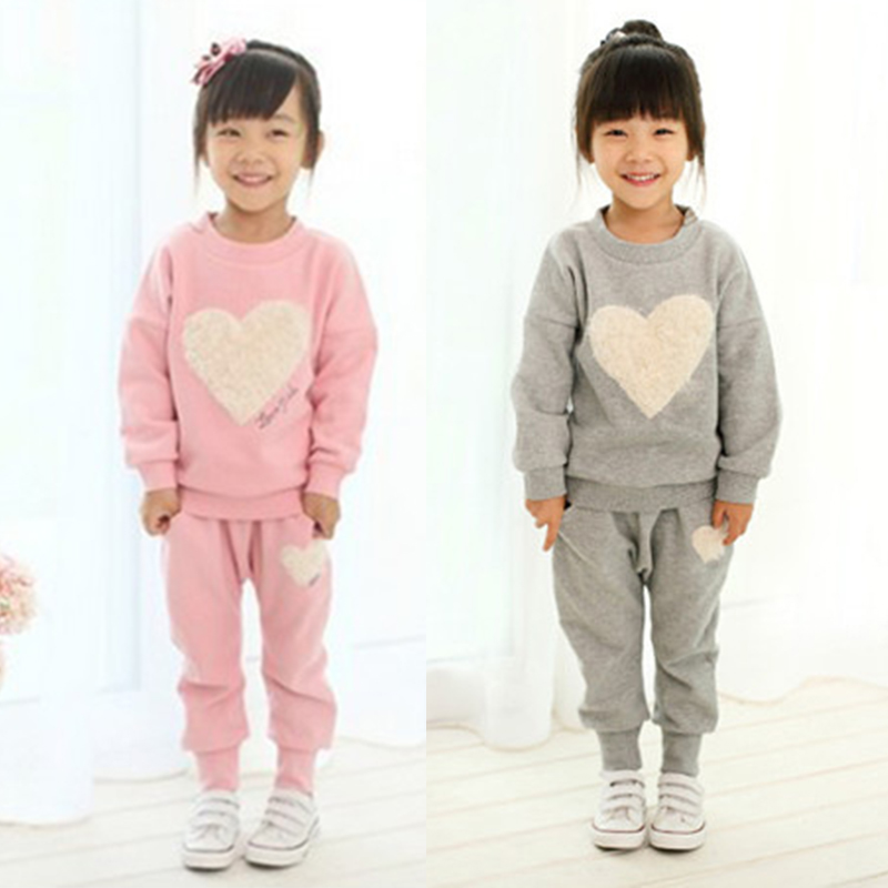 Free Shipping love clothing kids girls clothes sets,baby girl long sleeve + pant set Children love sports kids clothing sets
