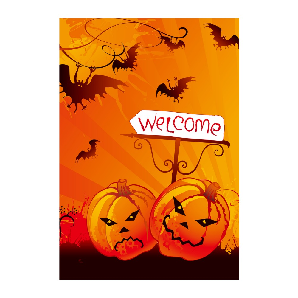halloween welcome decorative garden flags with pumpkin designed