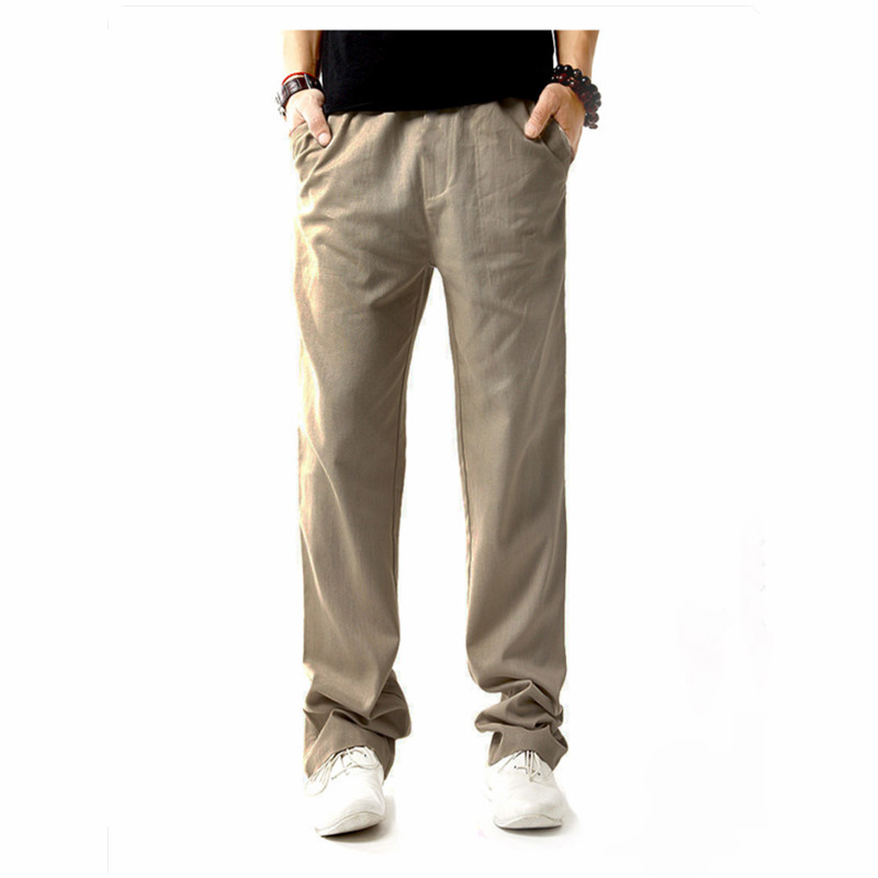 2018 Summer Casual Pants Straight Trousers Solid Breathable Pants Plus Size Men's Cotton And Linen Trousers Pants