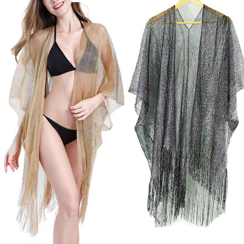 Womens Summer Metallic Glitter Solid Color Swimsuit Cover Up Long Tassels Asymmetric Hem Kimono Cardigan Sheer Knitted Sunscreen