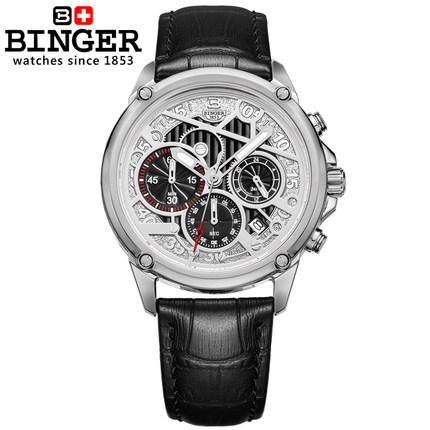 Original Binger Quartz Dress watches Men clock army hours gold Simple Style Water Resistant WristWatch Faux Leather Band watch