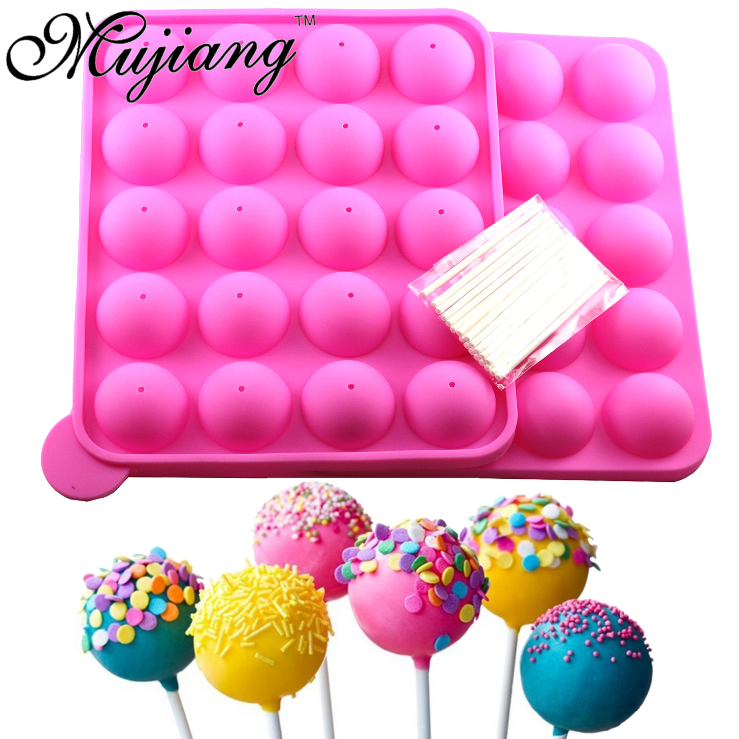 Mujiang 2 Pcs 20 Cavity Round Ball Lollipop Candy Silicone Mold DIY Party Jelly Chocolate Moulds Kitchen Baking Pastry Tools