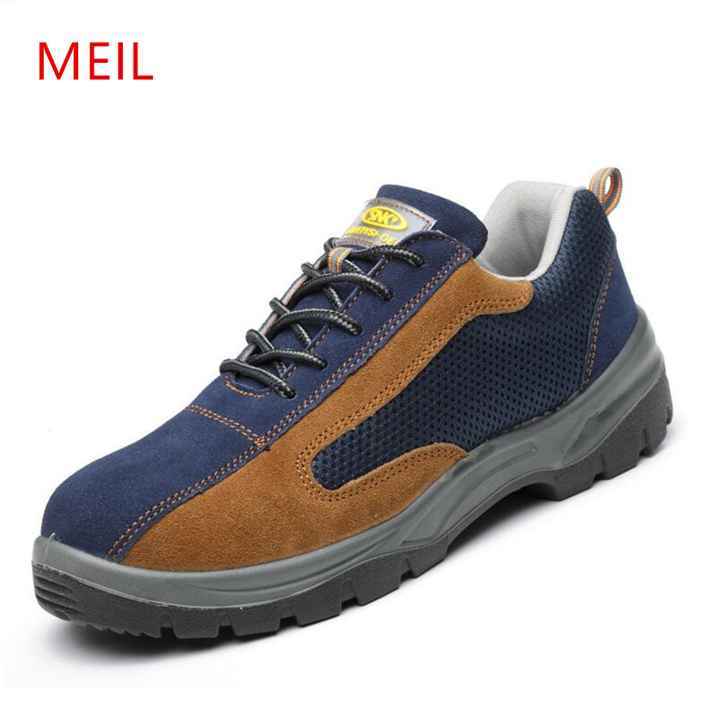 MEIL Air Mesh Men Boots Work Safety Shoes Steel Toe Cap For Anti-Smashing Puncture Proof Durable insulation Protective chaussure air mesh men boots work safety shoes steel toe cap for anti smashing puncture proof durable breathable protective footwear