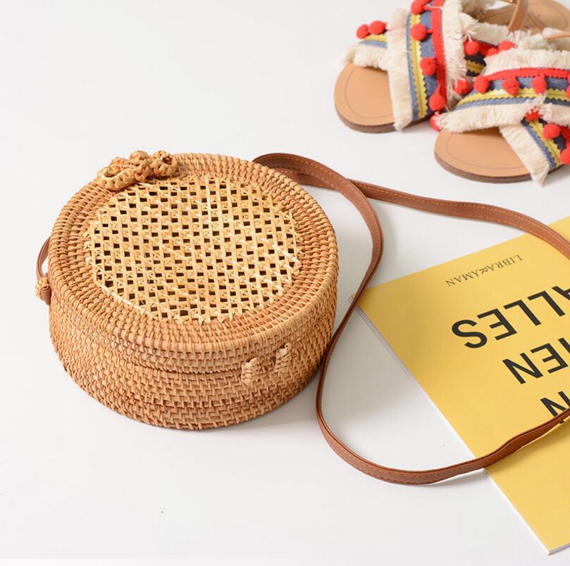 Summer Bohemia Style Beach Circle Bag Hand Woven Bag Round Rattan Straw Bag Straw Crossbody Shouder Bags Leather Strap DJZ514