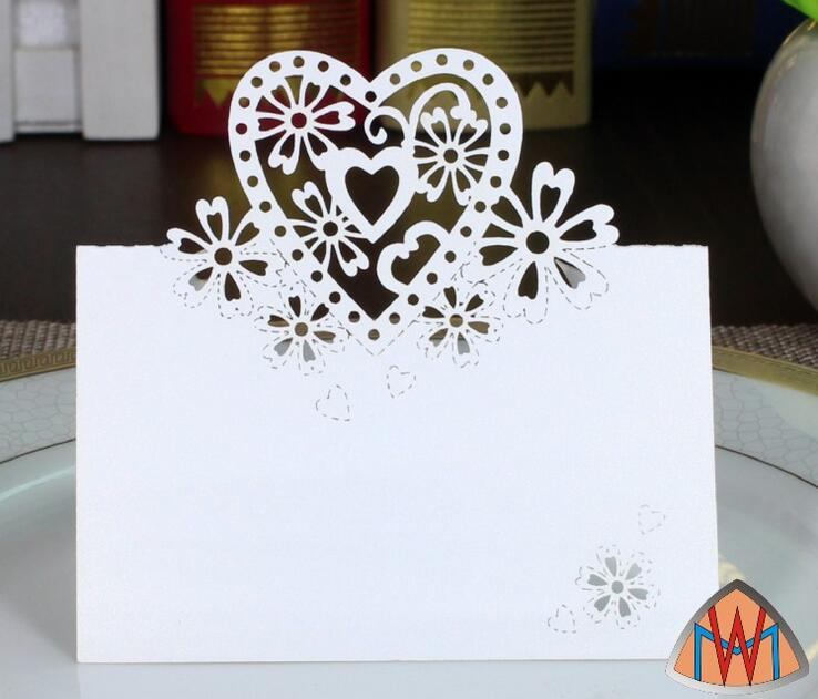 100pcs Laser Cut Hollow Heart Flower Paper Table Card Number Name Card For Party Wedding Place Card Decorate