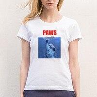 Paws Cat Kitten Meow Vrouwen t-shirt Katoen O Hals Korte Meisje mouwen T-Shirt Camisetas Casual Rock Big Size S-XXLRock Vrouwelijke Overhemd