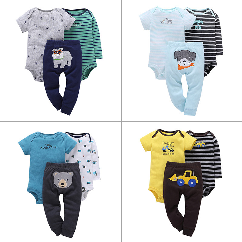 2018 sprint outfits set / 3 pcs set / Romper with long sleeves and short sleeves + Leggings / DADDY & SON BUILDING GO
