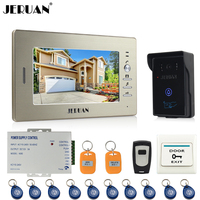 JERUAN 7 LCD Screen Video Intercom Video Door Phone System 1 Monitors 700TVL RFID Access Waterproof