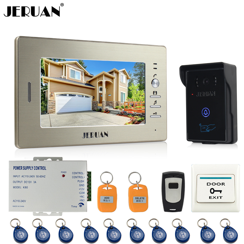 JERUAN 7`` LCD Screen Video Intercom Video Door Phone System 700TVL IR Camera outdoor waterproof FREE SHIPPING jeruan two 7 monitors lcd screen video intercom video door phone handsfree access control system 700tvl camera cathode lock
