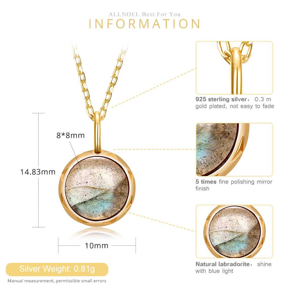 ALLNOEL однотонное 925 пробы Серебряное ожерелье с подвесками для женщин 1.3ct настоящий натуральный Лабрадорит Драгоценный камень Помолвочные украшения для свадьбы